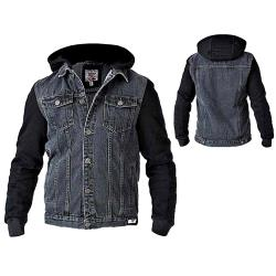 D555 Denim Jacket with Fleece Sleeves and Zip off Hood BLACK 3 - 6XL