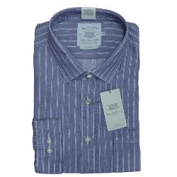 BAR HARBOUR WARM HANDLE  COTTON  WOVEN STRIPE  SHIRT NAVY