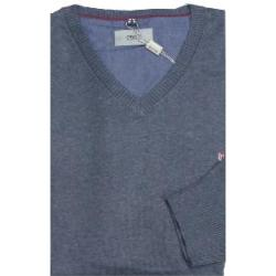 NORTH 56'4 Cotton v-neck Sweater BLUE MARL