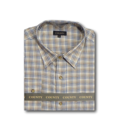 COUNTY Tattersall Check Shirt BEIGE/BLUE/BROWN (B)  2XL