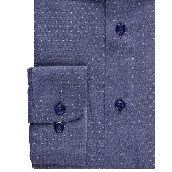 "NEW - DOUBLE TWO  PURE COTTON LONG SLEEVE PIN DOT SHIRT BLUE 19 - 23"" COLLAR / 3 - 7XL"