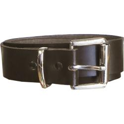 "Real Leather Belt  with Square Silver Colour buckle and loop  34MM DARK BROWN 46 - 56"" WAIST SIZE"