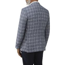 "SKOPES LUXURY COLLECTION LINEN / WOOL SPORTS JACKET SYRACUSE BLUE CHECK 50 - 70"" CHEST S/R"