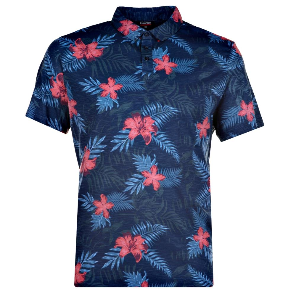 ESPIONAGE  FLORAL PRINT POLO WITH CHEST POCKET NAVY  7XL