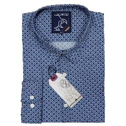 RAGING BULL COTTON SMART-CASUAL  NAVY FLORAL PRINT SHIRT