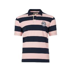 RAGING BULL BROAD STRIPED SHORT SLEEVE RUGBY SHIRT PINK/NAVY 3 - 6XL