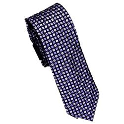 DOUBLE TWO Extra Long Tie LILAC  / NAVY PATTERNED