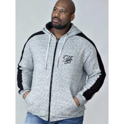 D555  COUTURE FULL ZIP HOODY WITH CONTRAST COLOUR PANEL TO SLEEVE GREY MELANGE
