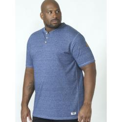 D555 TWIST YARN TEE SHIRT WITH GRANDAD COLLAR DANIEL BLUE TWIST 3 - 5XL