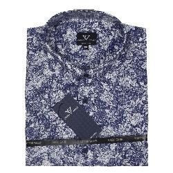 COTTON VALLEY HAWAIIAN PRINT SHORT SLEEVE SHIRT NAVY / WHITE  2 - 8XL