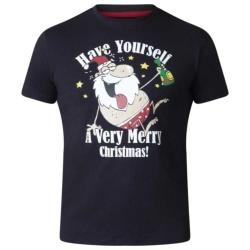 D555  MERRY CHRISTMAS TEE SHIRT MISTLETOE  BLACK
