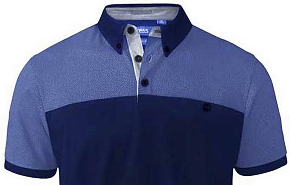 d0f49d465 D555 Short Sleeve Polo Shirt with Print Panel Shoulders and Sleeves JAURAM  NAVY 3 - 8XL