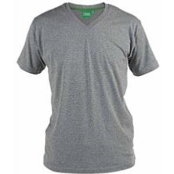 D555 Signature Combed Cotton VEE Neck T-Shirt GREY MARL 3 - 6XL