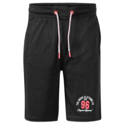 D555 TOMPKINS  ELASTICATED WAIST COTTON RICH FRENCH TERRY JOG SHORTS BLACK  2 - 10XL