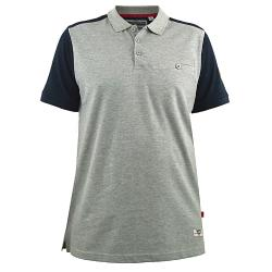 D555 KING SIZE MENS CUT AND SEWN COTTON PIQUE POLO WITH CHEST POCKET TERRACE GREY MARL 3 - 8XL