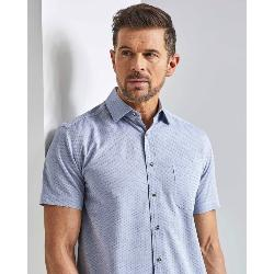 BAR HARBOUR  WOVEN PATTERNED SHORT SLEEVE SHIRT  SILVER/BLUE