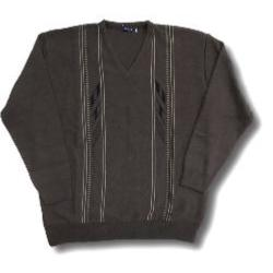 INVICTA Vee Neck Jacquard Pullover BROWN
