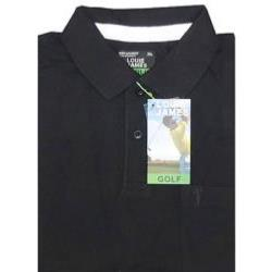 LOUIE JAMES Plain Polo Shirt with Pocket BLACK 6XL