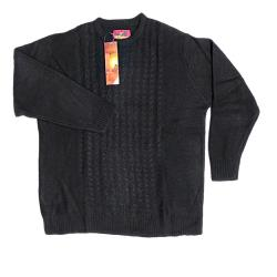METAPHOR Casual Cable Knit Crew Neck Sweater BLACK