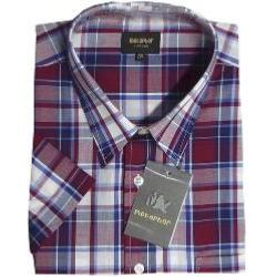 METAPHOR  Short Sleeve Casual Check  Shirt RED / NAVY 2 - 8XL