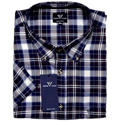 COTTON VALLEY Brushed Check Short Sleeve Shirt NAVY