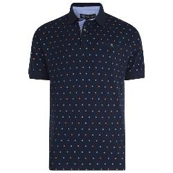 KAM DOBBY ALL OVER PRINT POLO SHIRT DARK NAVY  2 - 8XL