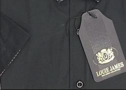 LOUIE JAMES EXCLUSIVE BLACK SHORT SLEEVE CLUB SHIRT