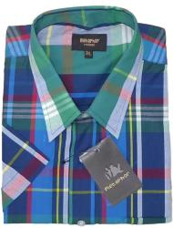 METAPHOR Short Sleeve Large Check Shirt GREEN/NAVY 2 - 8XL