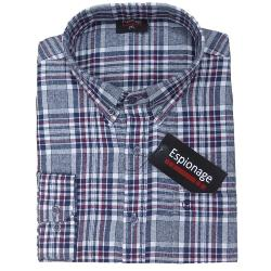 ESPIONAGE TEXTURED COTTON CHECK  SHIRT GREY/NAVY