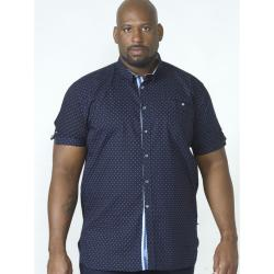 D555 ALL OVER  PRINT COTTON SHIRT WITH CHEST POCKET  NAVY