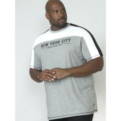 SALE - D555 KING SIZE MENS NEW YORK PRINT CUT AND SEWN TEE SHIRT ALVESTER GREY MARL  4 - 5XL
